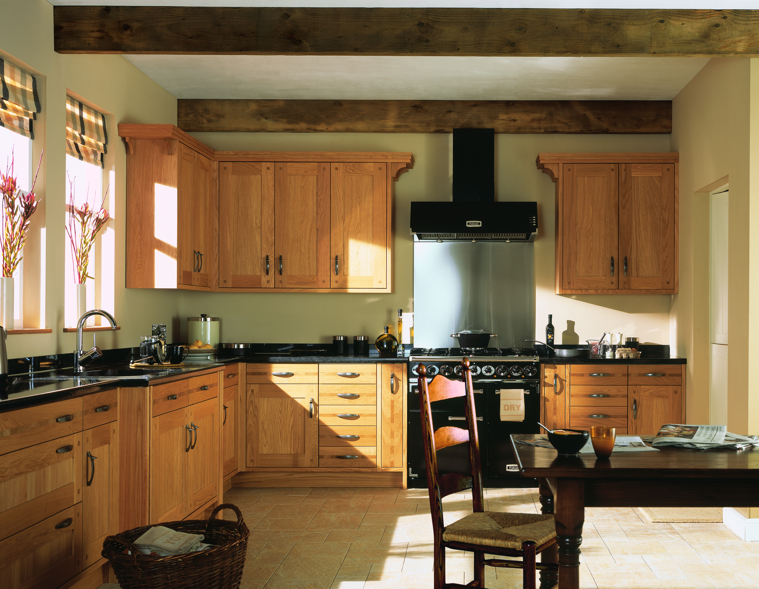 Traditional range brookwood kitchens for Green kitchen pictures